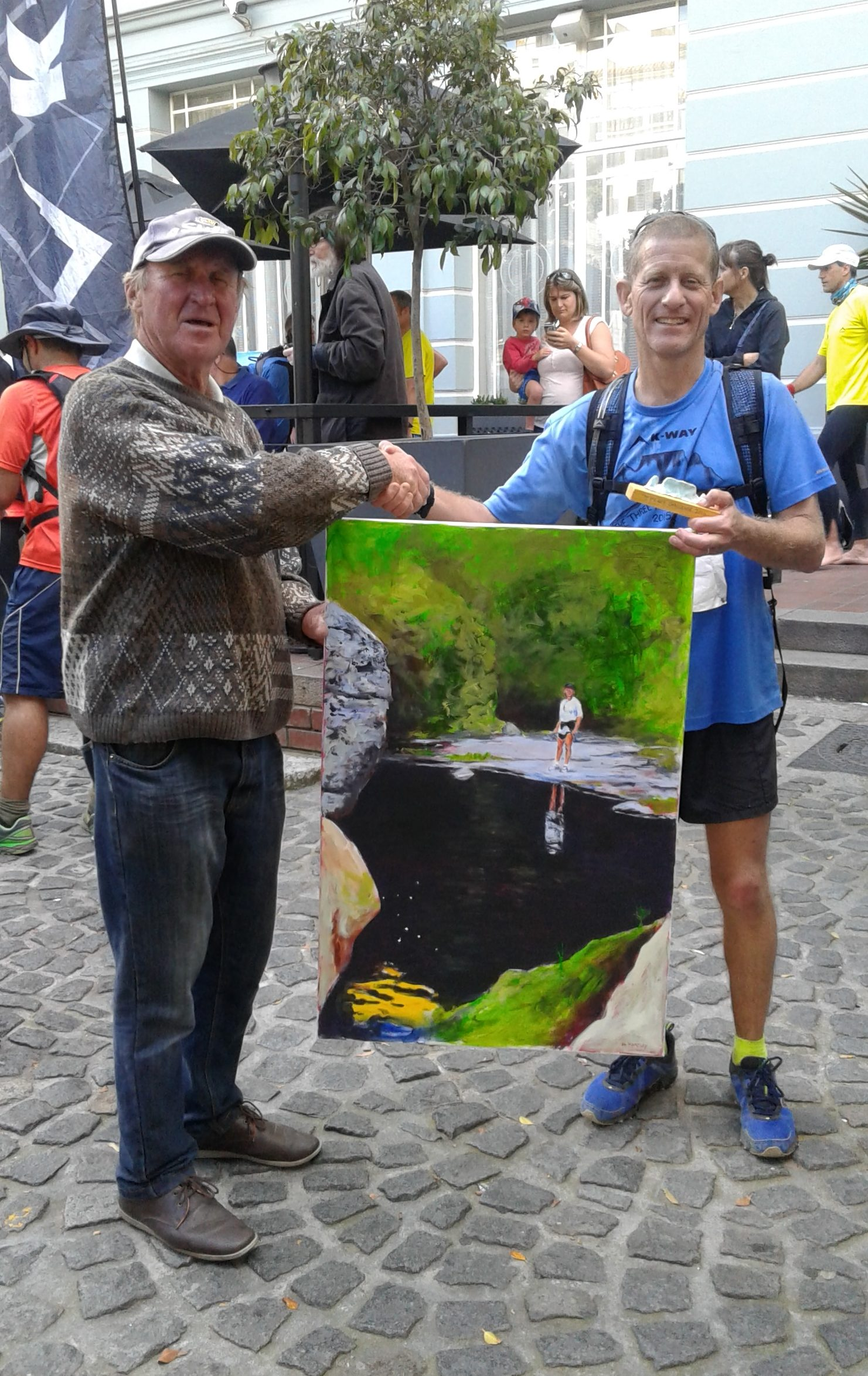 20 Finishes! Gavin Snell receives his painting from Don Hartley